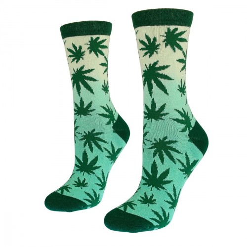 Women green socks with weed