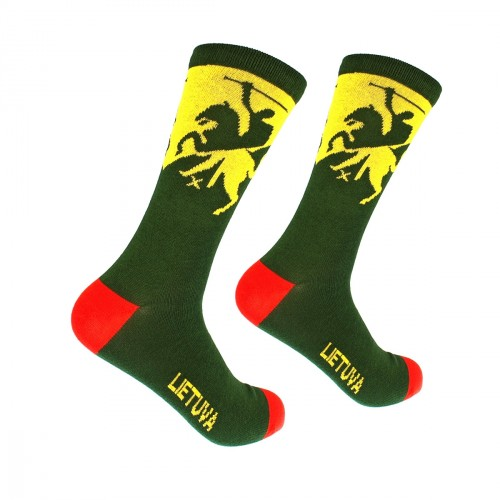 Men's green socks Lithuania with Vytis, size:(40-45)