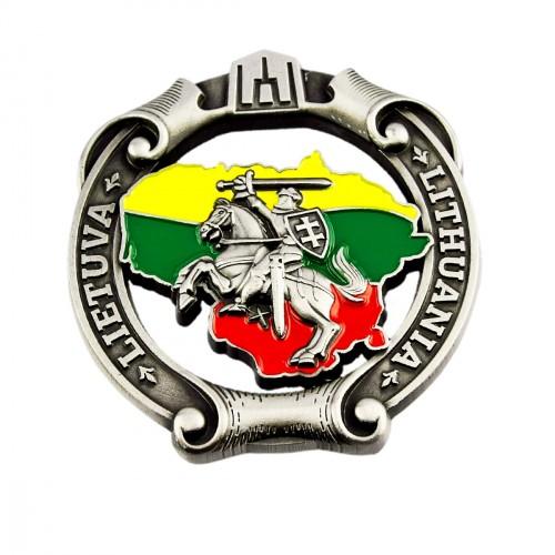 Souvenir metal fridge magnet Lithuania