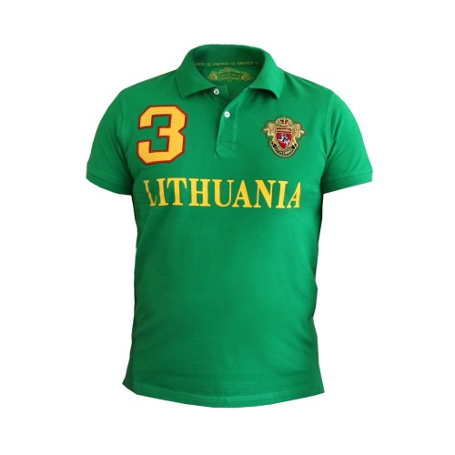 """Green Polo t-shirt """"Lithuania 3 Style"""""""