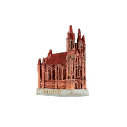Hand made ceramic magnet The Churches of St. Anne Vilnius