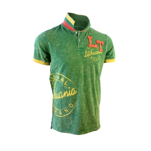 "Green color Polo t-shirts ""Lithuania LT Style"""