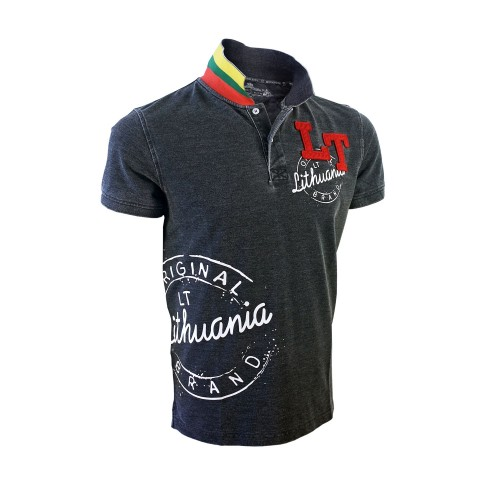 "Black-dark gray Polo t-shirts ""Lithuania LT Style"""