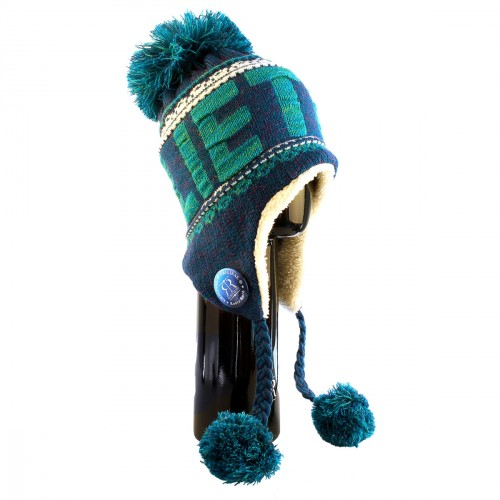 Blue winter hat LIETUVA with pompons - Robin Ruth