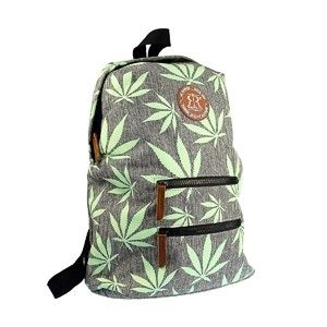 Gray leisure backpack with green weed leaf