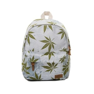 Light blue leisure backpack with green weed leaf