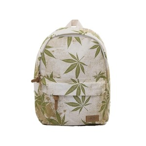 Light brown leisure backpack with green weed leaf