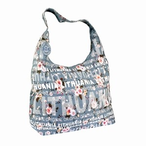 Light blue flowered big canvas bag Lithuania