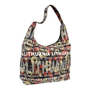 Dark flowered big canvas bag Lithuania