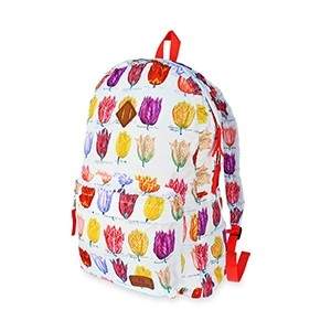 Compact foldable white backpack with tulips - Robin Ruth