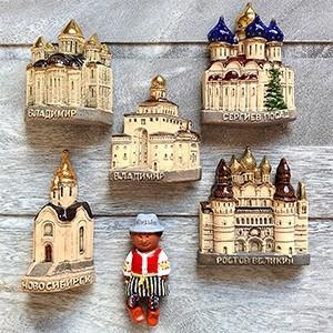 Handmade ceramic magnet set Russia