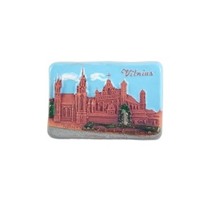 Hand made ceramic magnet The Churches of St. Anne panorama