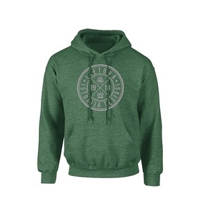 Green heater hooded sweater with gray print logo
