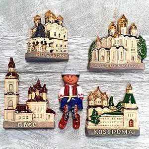 Handmade ceramic magnet set Russia Kostroma