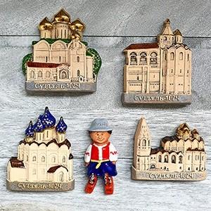 Handmade ceramic magnet set Russia Susdal