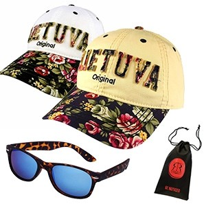 Flowered women baseball caps and sunglasses