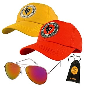 Yellow & Red cap Lithuania with sunglasses