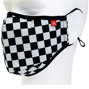 Face cover mask black white checkered