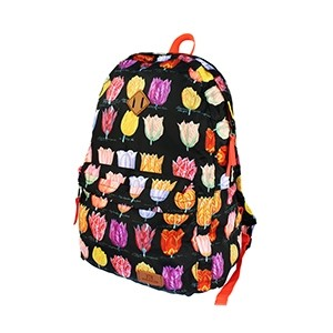 Compact foldable black backpack with tulips - Robin Ruth