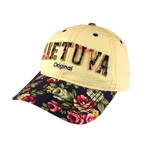 Beige color flowered women baseball cap Lietuva original
