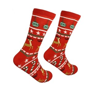 Red men's Christmas socks, size:(41-46)