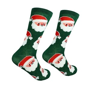 Green men's Christmas socks with Santa, size:(41-46)