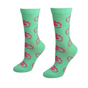 Mint color women socks with bikes, size:(36-42)