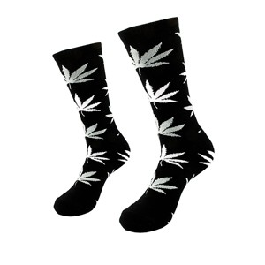 Black men cotton socks with weed leaf, size: (40-45)