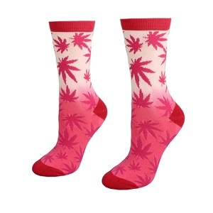 Women pink socks with weed