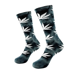 Gray men cotton socks with white weed leaf, size: (40-45)