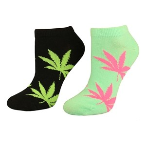 Two pairs short women socks with weed leaf Mint/Black size:(36-42)