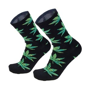 Men socks with green weed leaf
