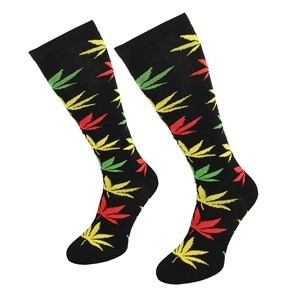 Long women socks with weed leaf size:(36-42)