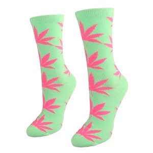 Mint color women socks with weed Size:(36-42)