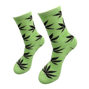 Green women socks with weed