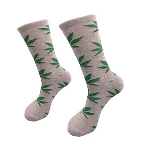 Gray men cotton socks with green weed leaf, size: (40-45)