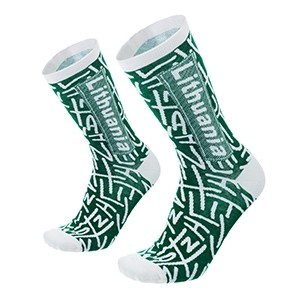Men's green/white socks Lithuania size:(41-44)