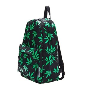 Leisure Backpack with green weed leaf