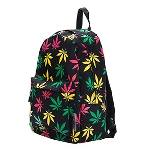 Leisure Backpack with tricolor weed leaf