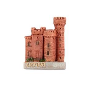 Hand made ceramic magnet Lietuva Raudone castle