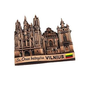 Souvenir metal fridge magnet - Vilnius St. Anne's church