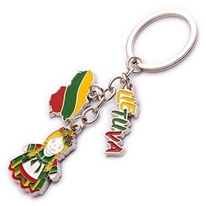 Metal key chain Lithuania Girl