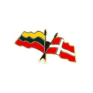 Metal pin Lithuanian Denmark flags