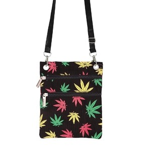 Neck passport bag with tricolor weed leaves
