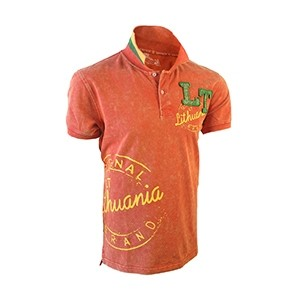 "Red color Polo t-shirts ""Lithuania LT Style"""