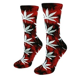 Red color women socks with weed