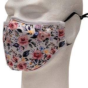 White flowered face mask (Polyester)
