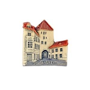 Handmade ceramic fridge magnet Tallinn City Old Town