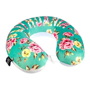 Greenish flowered memory foam travel neck pillow Lithuania