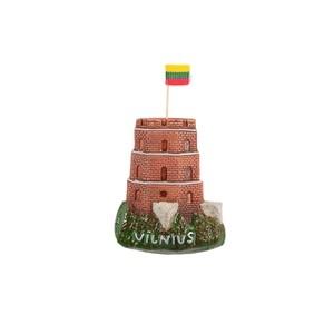 Hand made ceramic magnet Gediminas castle Vilnius